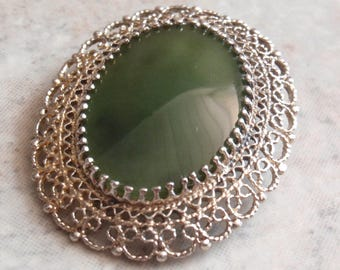 Nephrite Jade Brooch Pendant Sterling Silver Gold Wash Karen Lynne Vintage V0666
