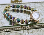 Titanium Plated Druzy Watch Bracelet, Titanium Plated Agate, Purple Watch, Purple Bracelet