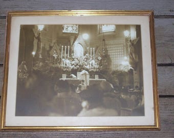 Antique Photo Framed Religious Artwork Catholic Church