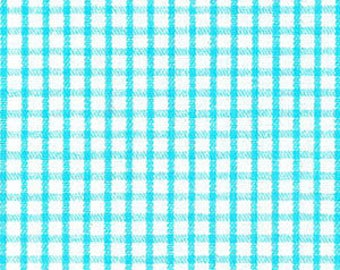 Fabric Finders AQUA Windowpane Aqua White Check print - plaid gingham aqua turquoise blue - cotton sewing quilting fabric - choose your cut