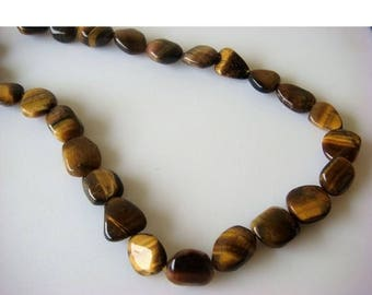 ON SALE 55% Tigers Eye Tumbles - 12mm Approx Tigers Eye Plain Tumbles - 14 Inch Strand