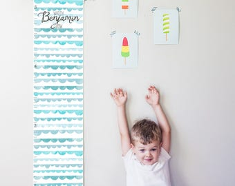 Custom/ Personalized Watch Me Grow canvas growth chart with blue watercolor scallops - boy, girl, gender neutral nursery or baby shower gift