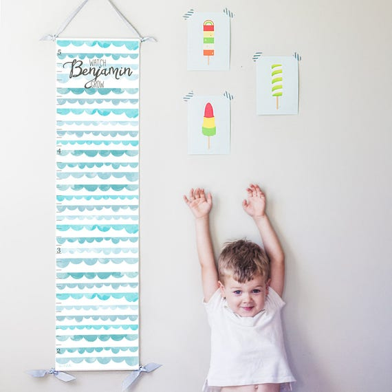 Personalized Watch Me Grow canvas growth chart with blue watercolor scallops