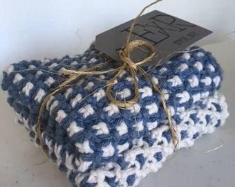 Handmade Denim Cotton Dishcloths - set of 2