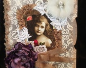 Journal note pad envelope vintage girl photo shabby chic junk journal style
