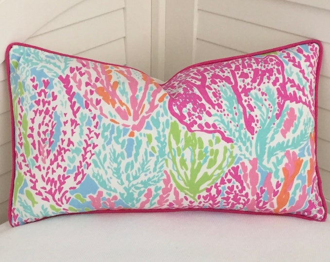 Lilly Pulitzer Let's Cha Cha in Tiki/Shorely  Designer Pillow Cover with Choice of Pink Piping or Self Welt - Square, Euro and Lumbar Sizes