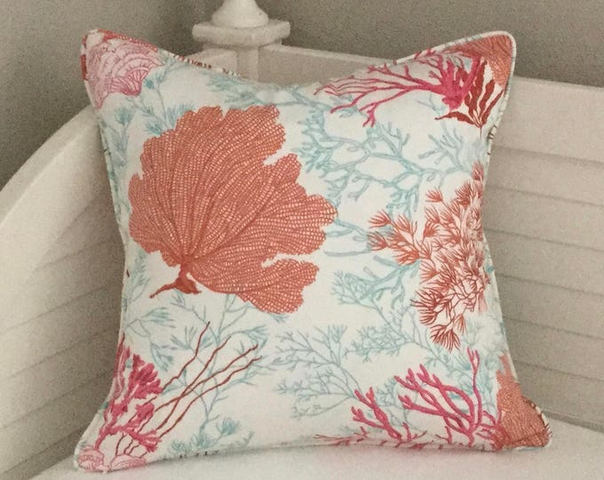 Thibaut Molokini Coral (on Both Sides)  Designer Pillow Cover with Self Welting, FREE SHIPPING, Coastal Decor, Beach House
