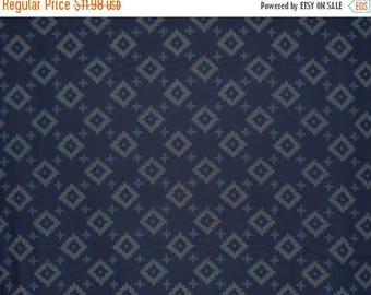 ON SALE Diamond Design Japanese Indigo Print Fabric--One Yard