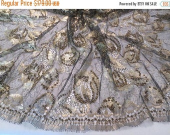 ON SALE Black and Metallic Floral Design Gold Beaded French Chantilly Lace Fabric--One Yard