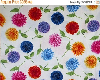 ON SALE Lovely Tossed Dahlias Petal Party Print on White Pure Cotton Fabric--By the Yard