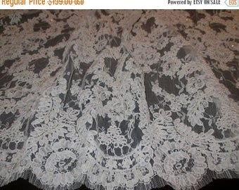 ON SALE Ivory Heavily Beaded Intricate French Alencon Lace Fabric--One Yard