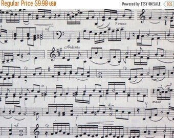 ON SALE Black on Ivory Music Score Print Pure Cotton Fabric--BY the Yard