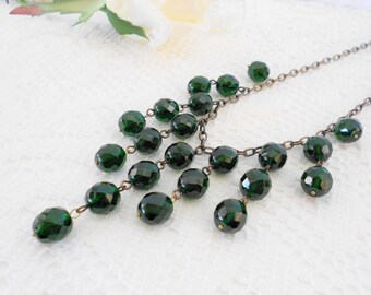 Emerald Crystal Necklace, Bib Necklace, Art Deco Necklace, Drop Necklace, Beaded Necklace, Emerald Necklace, Green Necklace
