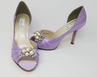 Iris Purple Wedding Shoes Iris Bridal Shoes with Crystal and Pearl Cascade Design Iris Purple Bridesmaids Shoes  PICK FROM 100 COLORS