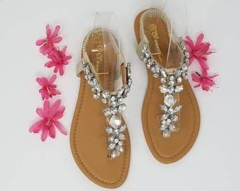 Ivory Wedding Sandals with Sparkling Gems Bridal Sandals  Destination Wedding Sandals Beach Wedding Sandals Beach Wedding Shoes