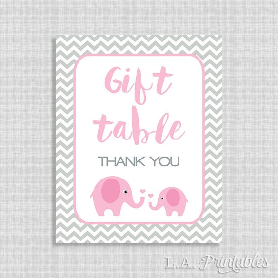 Baby Gift Logo : Gift table sign pink elephant baby shower