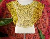 1960's Floral Yellow Lace Crop Top Hand Beaded Lace Shell Crop Top XS S