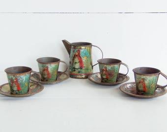 Red Riding Hood Dishes, Tin Litho Tea Set, Ohio Arts Company, Vintage Tin Toys,