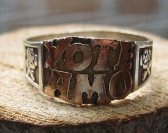 Vintage 18K Gold and Sterling Silver Spanish I Love You Ring Yo te Amo Size 8 Women's Ladies Ring