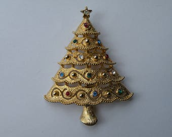 JJ rhinestone Christmas tree pin brooch