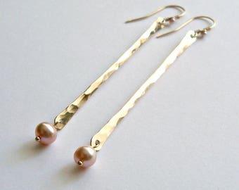 Pink Pearl Dangle Earrings, Gold Stick Earrings, Gold Bar, Pink Freshwater Pearls, Hammered Gold Earrings, Minimalist