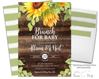 Rustic Baby Shower Invitations - Rustic Baby Shower Invites - Sunflower Baby Shower - Brunch For Baby - Gender Neutral Baby - Rustic Floral