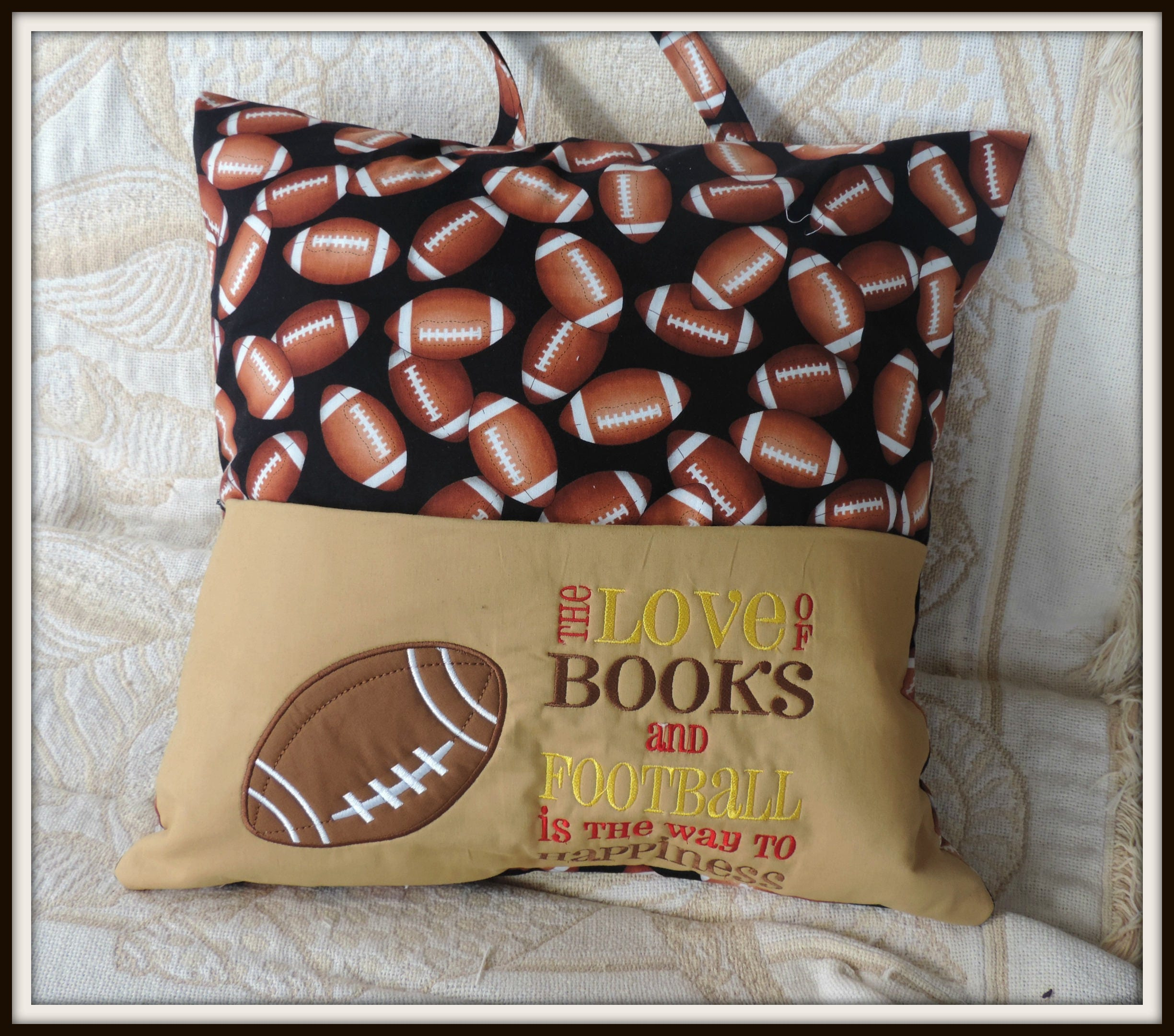 football reading pocket pillow pillow with handle reading