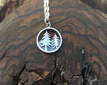 Tree and Mountain Range Sterling Silver Charm Pendant Necklace