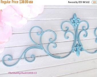 ON SALE Aqua Wall Decor / Wrought Iron /Fleur De Lis Wall Decor / Shabby Chic Decor / Bedroom Wall Decor / Kitchen Decor