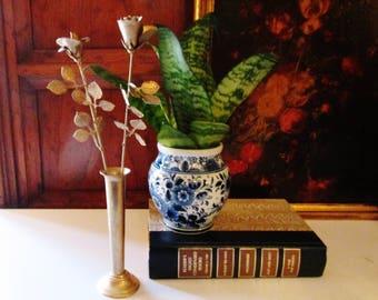 Ted Arnold LTD Toleware Gilded Flower Vase, Hollywood Regency, Vanity Decor, Metal Stemmed Roses, Vintage Rose Bud Vase