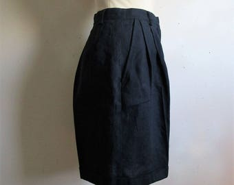 Vintage 80s Lord n Taylor Shorts Navy Blue Linen 1980s Dress Womens Shorts 4