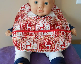 Red and Gold Reindeer Baby Bib
