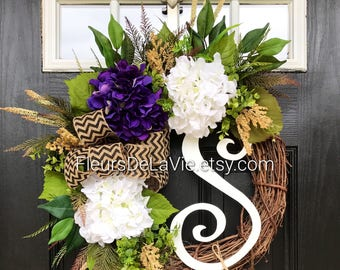 NEW item! Spring Wreaths for Front Door, Front Door Wreaths, Summer Wreaths for front door, Hydrangea Wreaths, Grapevine Wreath, Home Decor