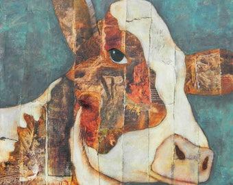 Bessie 12 x 12 cow print