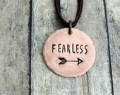 Fearless Necklace - Brave Necklace - Fearless Mantra - Stamped Jewelry - Strong Woman - Brave Jewelry - Word Jewelry - Arrow Necklace
