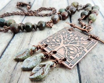 Tree of Life Necklace - Nature Jewelry - Etched Tree Necklace -  Forest Inspired Jewelry - Leaves Necklace - Botanical Jewelry