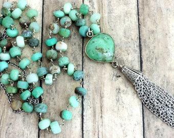 Mint Green Silver Tassel Necklace - Boho Beaded Necklace - Chrysoprase Beaded Necklace - Beaded Jewelry - Silver Chain Tassel
