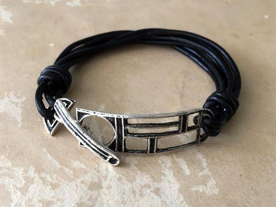 Silver and Leather Bracelet | Black Leather Bracelet | Toggle Bracelet