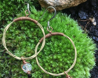 Guitar strings hoops with crystal and copper accents