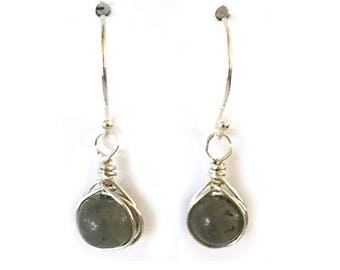 Labradorite Earrings Sterling Silver Wire Wrapped Jewelry