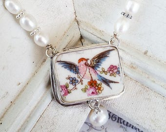 Vintage Bird Broken China Jewelry Freshwater Pearl Necklace