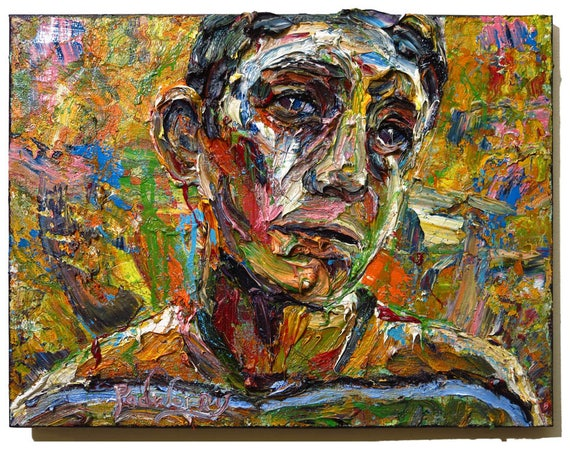 SOLD - Oil Paint on Stretched Canvas of 18 by 24 by .75 in. / Original oil painting impressionist outsider nyc portrait vintage art realism