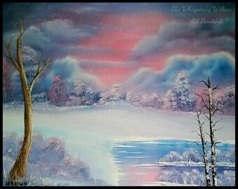 OIL PAINTING 16x20 Blue & Pink Snow Sunrise Scene Landscape Painting Tree Pond