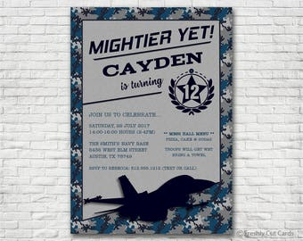 Navy and Gray Camouflage Invitation - Printable or Printed (w/ FREE Envelopes)