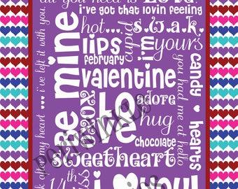 Be Mine Valentine Subway Art Typography PRINTABLE 11 X14 with FUN border, Bright colors, diy home decor