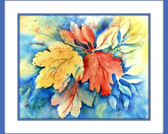 Autumn Leaves Watercolor by Martha Kisling Art With Heart