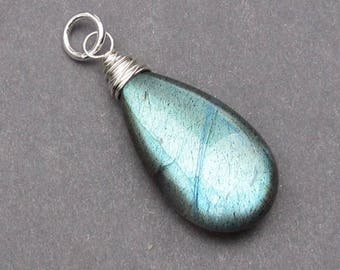 Huge Sterling Silver Wire Wrapped Labradorite Pendant, Silver Charm, Labradorite Jewelry, Labradorite Charm, Necklace Pendant, Stone 246