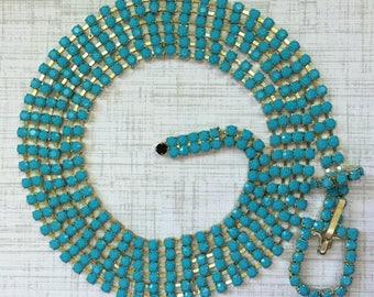 Vintage Turquoise Rhinestone Belt