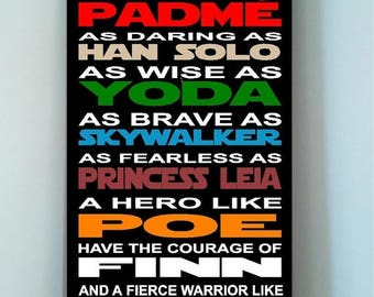 On Sale Beautiful STAR WARS 10x24 wooden subway art sign -In this house we are as strong as a wookie as noble as padme as brave ....
