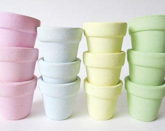 "12 Miniature Terra Cotta Flower Pots 1 1/4"", Painted Vintage"
